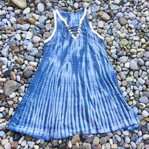 Natural Life Pullover Blue Tie Dye Dress Large